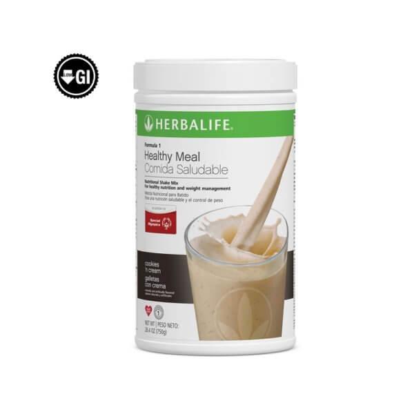 Fórmula 1 Comida Saludable Mezcla Nutricional para Batido Herbalife sabor Galletas con crema 750 g